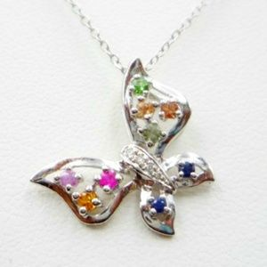 Vintage Sterling & Crystal Butterfly Necklace